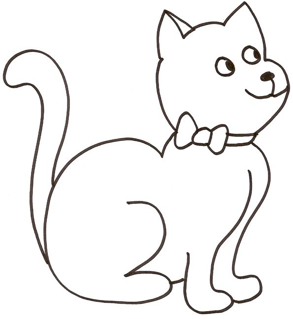 Coloriage - Modele dessin chat facile ...